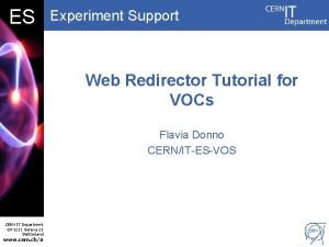 DB ES Experiment Support Web Redirector Tutorial for
