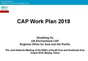 UN Environment Compliance Assistance Programme CAP CAP Work