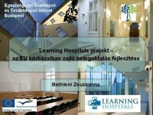 Egszsggyi Szakkpz s Tovbbkpz Intzet Budapest Learning Hospitals