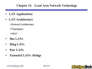 Chapter 13 Local Area Network Technology LAN Applications