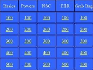 Basics Powers NSC EIIR Grab Bag 100 100