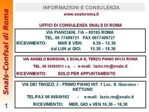 INFORMAZIONI E CONSULENZA www snalsroma it UFFICI DI