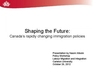 Shaping the Future Canadas rapidly changing immigration policies