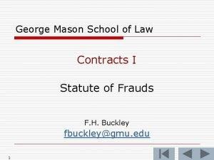 George Mason School of Law Contracts I Statute