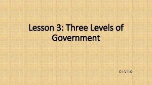 Lesson 3 Three Levels of Government CIVIX Three