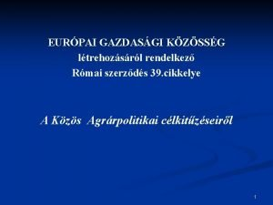 EURPAI GAZDASGI KZSSG ltrehozsrl rendelkez Rmai szerzds 39