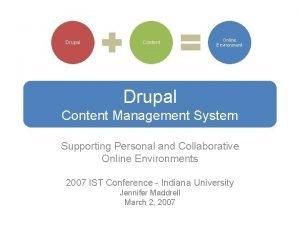Drupal Content Online Environment Drupal Content Management System