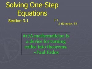 Solving OneStep Equations Section 3 1 2 50