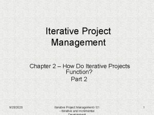 Iterative Project Management Chapter 2 How Do Iterative