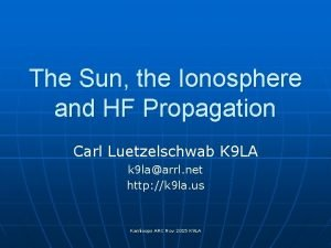 The Sun the Ionosphere and HF Propagation Carl