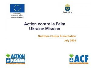 Action contre la Faim Ukraine Mission Nutrition Cluster