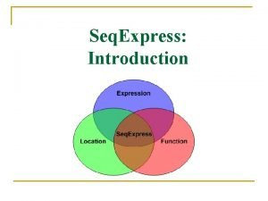 Seq Express Introduction Features n Visualisation Tools q