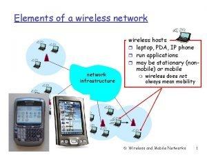 Elements of a wireless network infrastructure wireless hosts
