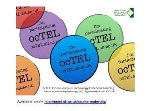 Available online http octel alt ac ukcoursematerials Maximising