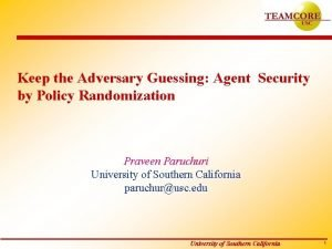 Keep the Adversary Guessing Agent Security by Policy