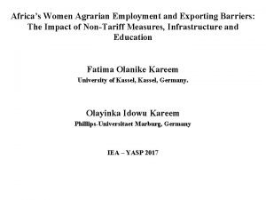 Africas Women Agrarian Employment and Exporting Barriers The