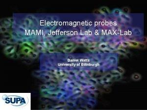 Electromagnetic probes MAMI Jefferson Lab MAXLab Daniel Watts