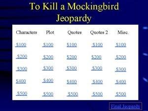 To Kill a Mockingbird Jeopardy Characters Plot Quotes