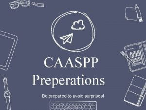 CAASPP Preperations Be prepared to avoid surprises Professional