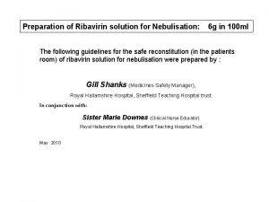 Preparation of Ribavirin solution for Nebulisation 6 g