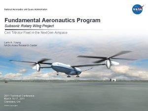 National Aeronautics and Space Administration Fundamental Aeronautics Program