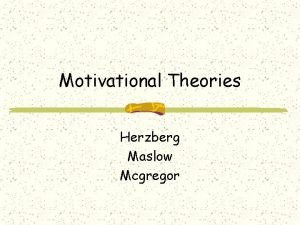 Motivational Theories Herzberg Maslow Mcgregor Maslows Hierarchy of