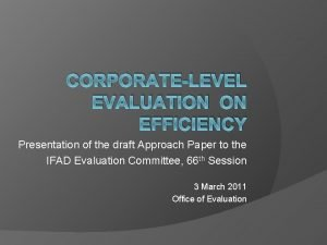 CORPORATELEVEL EVALUATION ON EFFICIENCY Presentation of the draft