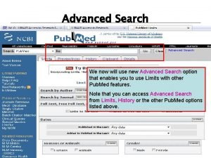 Advanced Search We now will use new Advanced