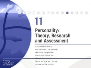 Nature of Personality Psychodynamic Perspectives Behavioral Perspectives Humanistic