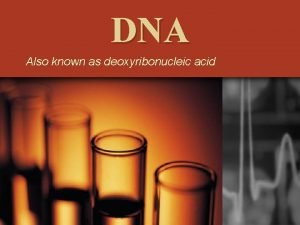 DNA Also known as deoxyribonucleic acid History of