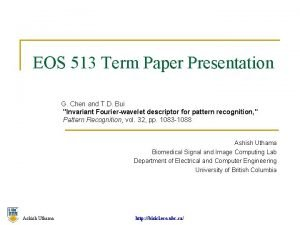 EOS 513 Term Paper Presentation G Chen and