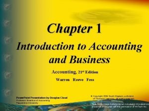 Chapter 1 Introduction to Accounting and Business Accounting
