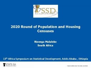 2020 Round of Population and Housing Censuses Risenga