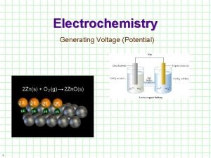 Electrochemistry Generating Voltage Potential 1 Historically oxidation involved
