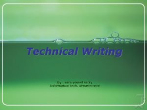 Technical Writing By sara yousef serry Information tech