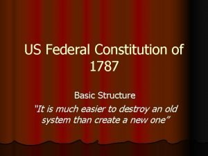 US Federal Constitution of 1787 Basic Structure It