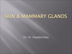 SKIN MAMMARY GLANDS By Dr Mujahid Khan Skin