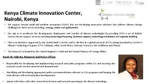 Kenya Climate Innovation Center Nairobi Kenya We support