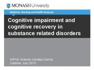 Medicine Nursing and Health Sciences Cognitive impairment and