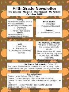 Fifth Grade Newsletter Mrs Edmonds Mrs Lovell Miss