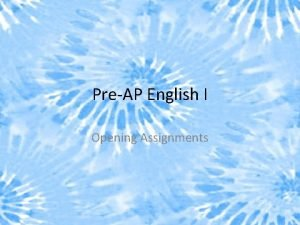 PreAP English I Opening Assignments Making Inferences Always