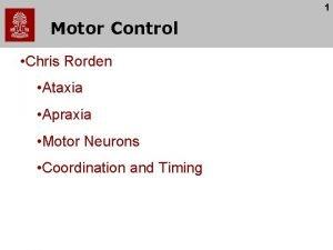 1 Motor Control Chris Rorden Ataxia Apraxia Motor