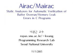 AiracMairac Static Analyzers for Automatic Verification of Buffer