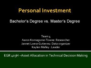 Personal Investment Bachelors Degree vs Masters Degree Team