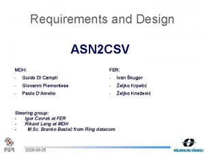 Requirements and Design ASN 2 CSV MDH FER