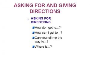 ASKING FOR AND GIVING DIRECTIONS ASKING FOR DIRECTIONS