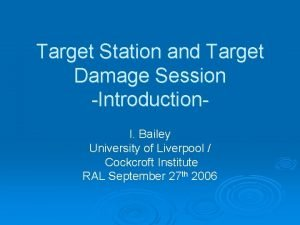 Target Station and Target Damage Session Introduction I