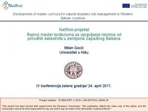 Development of master curricula for natural disasters risk