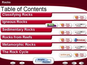 Rocks Table of Contents Classifying Rocks Igneous Rocks