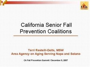 California Senior Fall Prevention Coalitions Terri RestelliDeits MSW